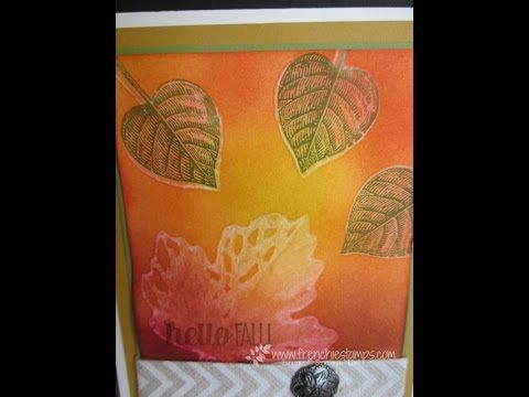 www.frenchiestamps@hotmail.com - Bleach without bleach with stamping mist cleaner. Great way to have the bleach look with Photopolymer stamp set. #stampin'up...