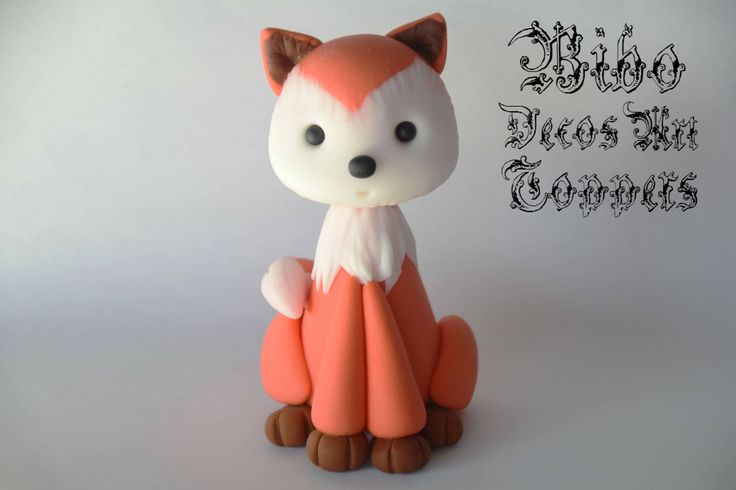 Edible 3D Woodland Animal Fox Cake Decoration Fondant Topper , Birthday Cake Topper by BiboDecosArtToppers on Etsy