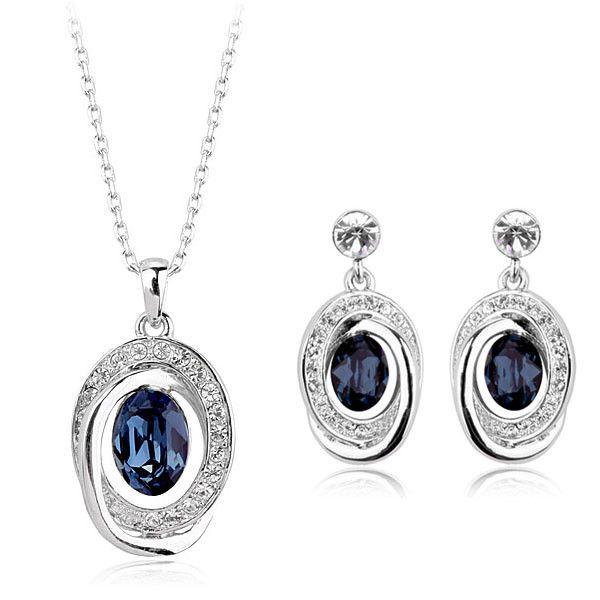 Стильный поддельные золотые украшения комплект синий кристалл комплект ювелирных изделий с новая модель комплект ювелирных изделий индийские ювелирные изделия