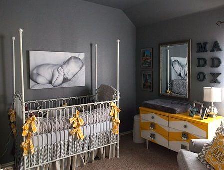 Le gris et la jaune parfait pour décorer la chambre du bébé.