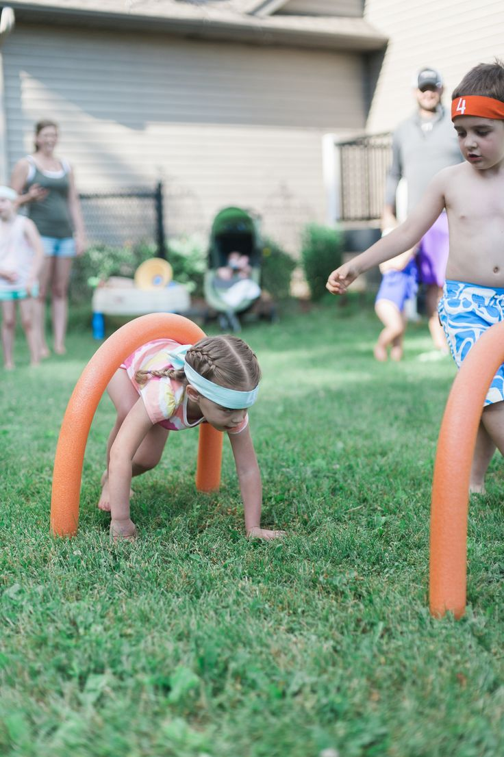 "American ninja warrior inspired 4th birthday party!  We spent about $30 on the whole party. Buy pool noodles at the dollar store and use ""garden stakes"" in the ground to create obstacles! :)"