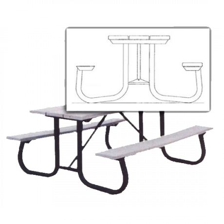 Shenandoah Style Picnic Table Frame ONLY<br>2-3/8 in. OD Schedule 40 Steel Pipe<br>Welded then Hot Dip Galvanized