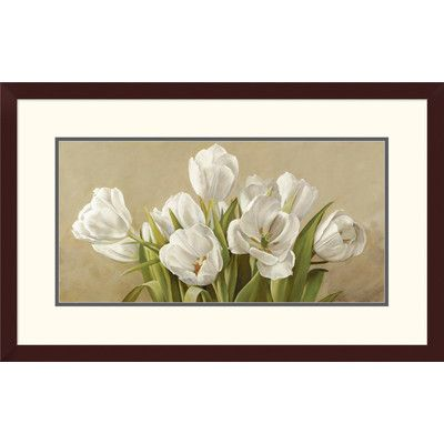 Global Gallery 'Tulipani bianchi' by Serena Biffi Framed Graphic Art Size: 2