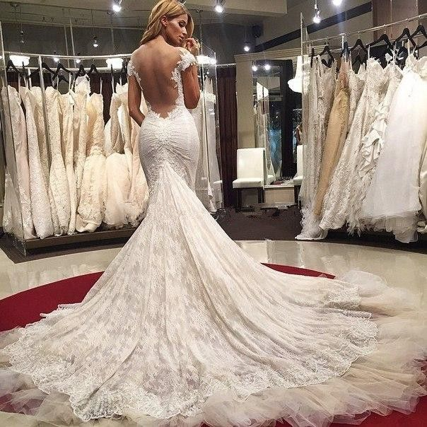 Beautiful Ivory Lace Mermaid Wedding Dresses Lace Applique On Satin Vestido De Novia Sirena Bridal Gown 2016 Robe de mariage