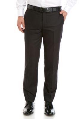 Savile Row Men's Stretch Classic Fit Dress Trousers – Black – 32 X 30