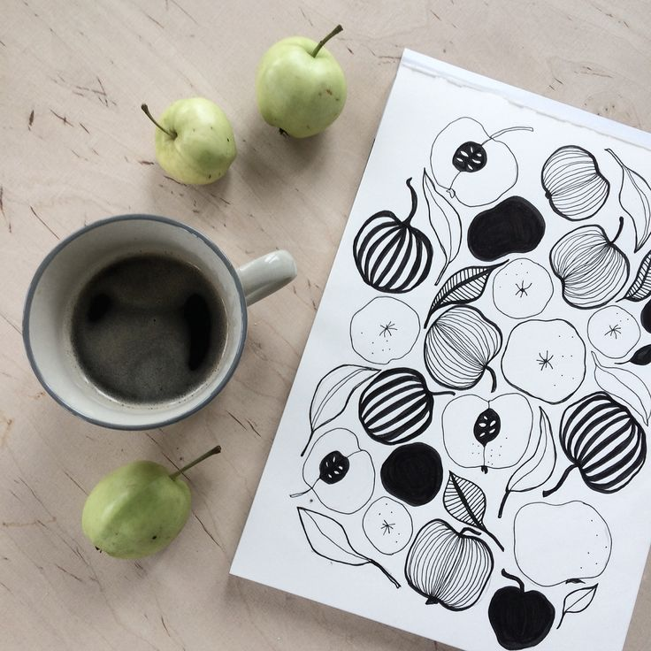 Botanical drawing. Nature inspired. Ink. Coffee moment. Illustration. By Johanna Sandberg.