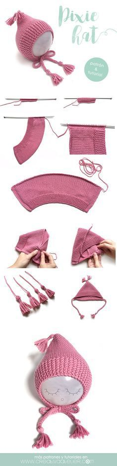 I love making these! knitted pixie hat. instructions in Spanish