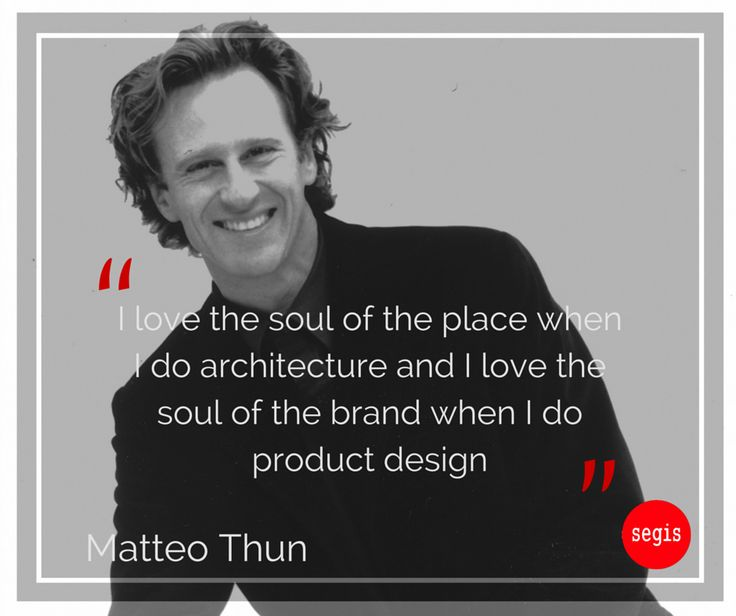 "Together with #Lavazza, #Missoni, #Campari and many others, Segis has had the pleasure of working with Matteo Thun, Italian architect and designer, three-time winner of Compasso d'Oro for ‪#‎design‬ excellence. One of the most important figures of ‪#‎MadeInItaly‬, he creates products that tell ideas without using words. When asked to explain what inspires him, Thun says: ""It's always the next project"". Read the whole biography: http://www.segis.it/en/designers/1020/MatteoThun/"