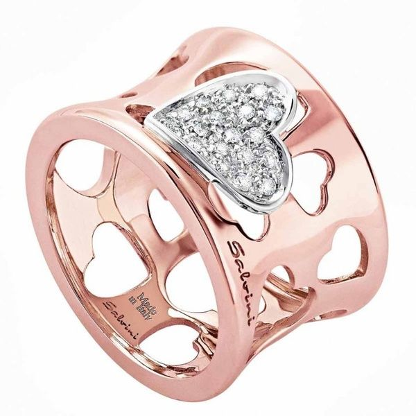 Pink gold and diamond heart ring by Salvini