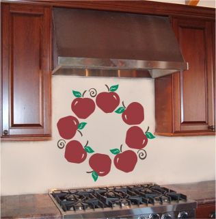 Apple Decor | ... Wall On Apple Wreath Kitchen Wall Sticker Vinyl Decal  Decor