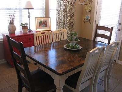 This is how I want my kitchen table & chairs to look.  life.love.larson: New (Old) Kitchen Table: Staining