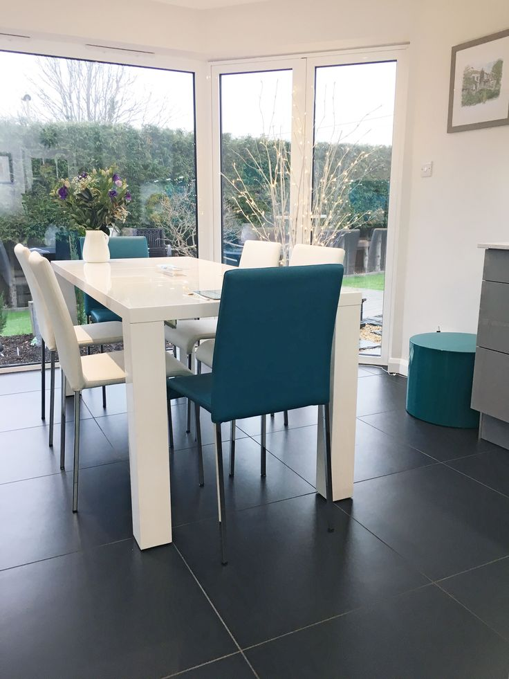 Pauline and Richards White Gloss Dining Table with Tori Teal and White Stackable Dining Chairs