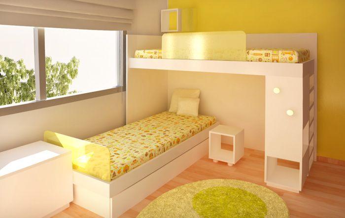 Cama alta y cama baja de 1 plaza colocadas superpuestas for Futon cama plaza y media