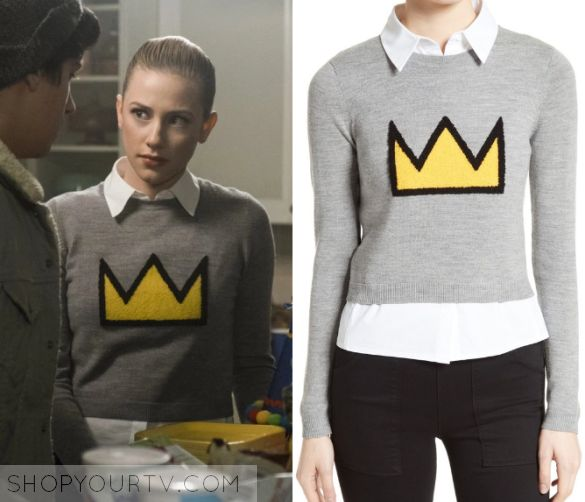 "Riverdale: Season 1 Episode 10 Betty's Crown Print Sweater | Betty Cooper (Lili Reinhart) wears this grey cropped sweater with yellow crown and underlayered white shirt in this episode of Riverdale, ""The Lost Weekend"".  It is the Alice + Olivia Nikia Layered Look Crown Sweater"