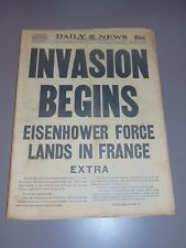 JUNE 6, 1944 NEW YORK DAILY NEWS NEWSPAPER: WWII D-DAY ALLIED INVASION OF FRANCE