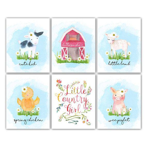 Farm Nursery. Farm Nursery Decor. Farm Animals Nursery Prints.