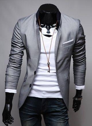 Comprá online Blazer Casual Slim Fit Estilo Fashion de Dos Botones con Detalles en el Cuello - Gris, Negro y Rosado por €39,00. Hacé tu pedido y pa...