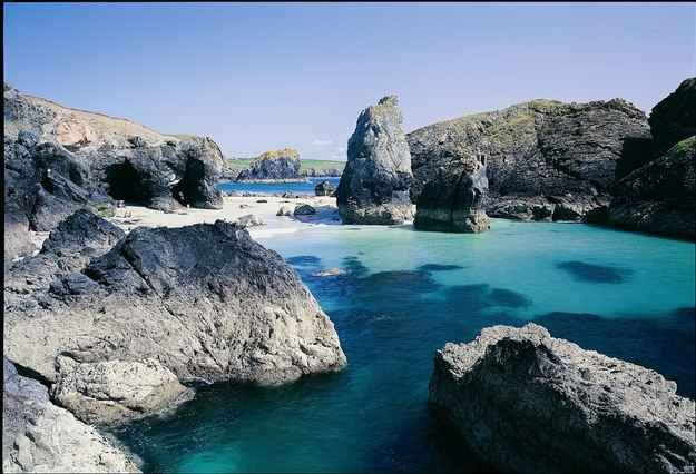 Lizard Peninsula in Cornwall. Two miles to the north of Lizard Village lies the secluded Kynance Cove, considered one of the most beautiful beaches in the world.