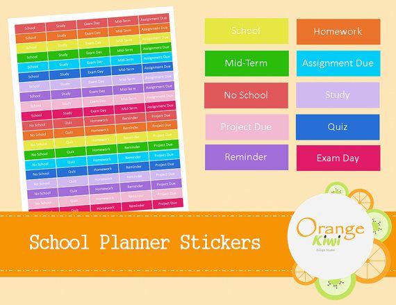 100 School Planner Stickers  College Stickers  by OrangeKiwiDesign