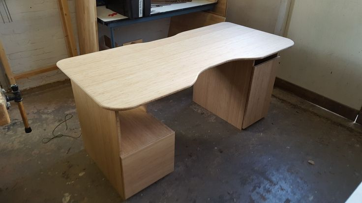 Desk for custom made computer in bamboo