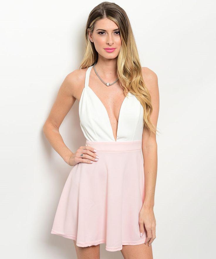 Blush Pink Ivory Open Back Deep V Neck Party Dress