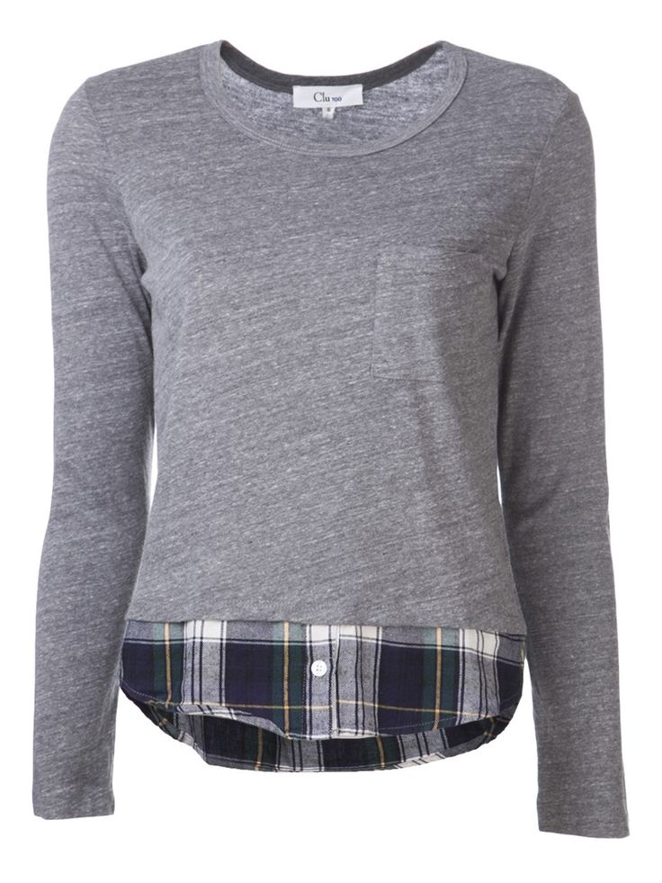 Refashion--old gray long sleeve, possibly even a long john, with plaid button down peeking out from the bottom, rolled cuff sleeves and collar.