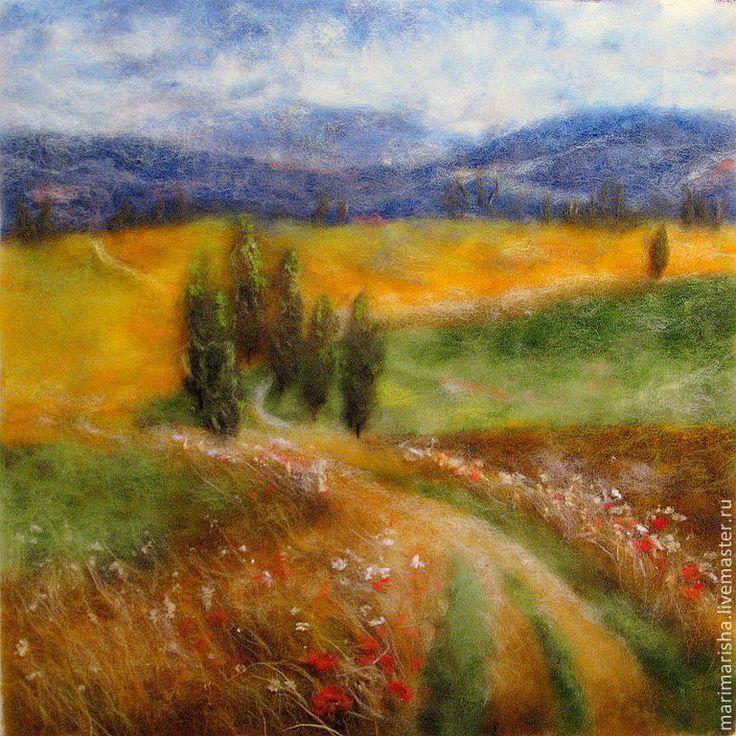 Купить Картина из шерсти Итальянский пейзаж - шерстяная акварель, картина из шерсти, картина в подарок