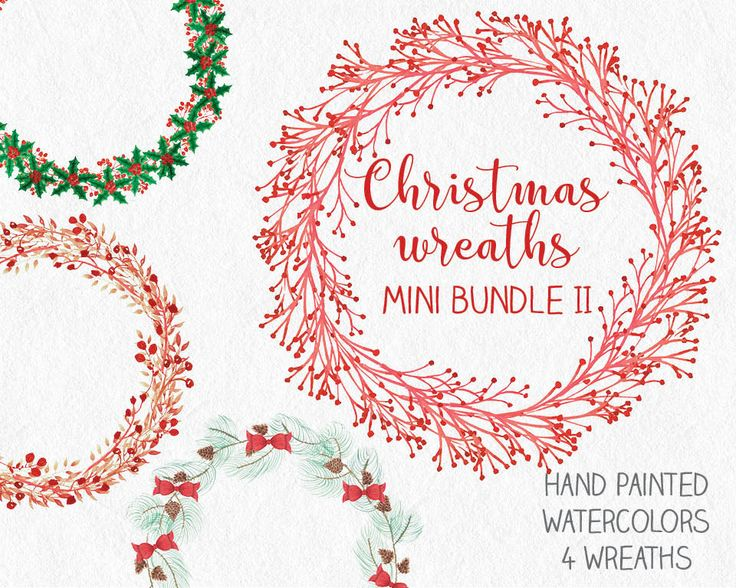 Watercolor Christmas wreaths vol. II: mini-bundle of 4 wreaths; hand painted berries and foliage; watercolor clip art; instant download by LollysLaneShoppe on Etsy