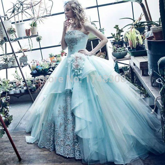 Robes de Fiesta Robes De Soirée Sans Bretelles Décolleté Dentelle Appliques Hand Made Fleurs Sans Manches robe de Bal Bleu Clair Robe De Bal