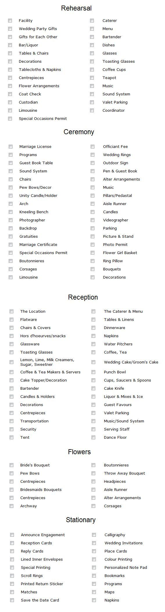 Though most of these are not must-haves in my opinion, this is still a helpful checklist.