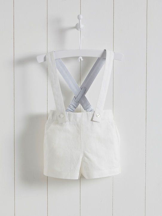 BABY'S SPECIAL OCCASION LINEN SHORTS - White - 3