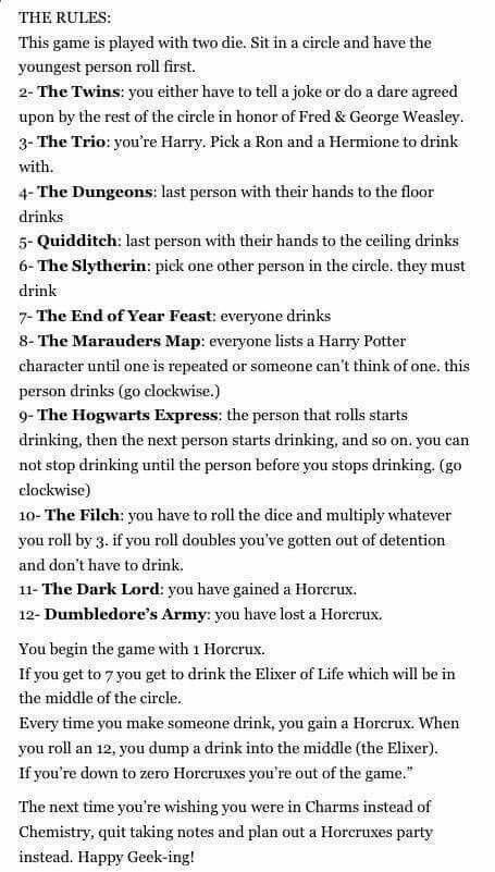 Harry Potter drinking game - with dice, not TV