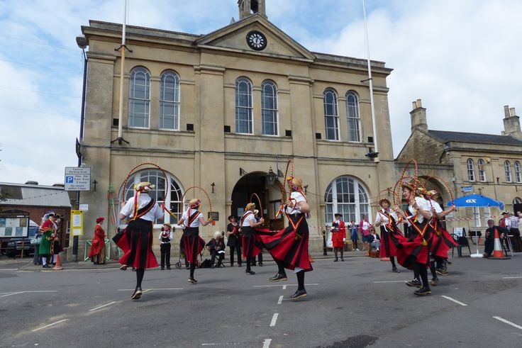 Traditional country dancing in the Market Square in front of Melksham Town Hall