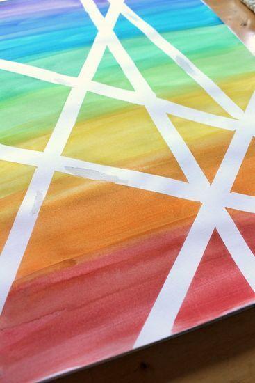 Watercolour washi tape resist art
