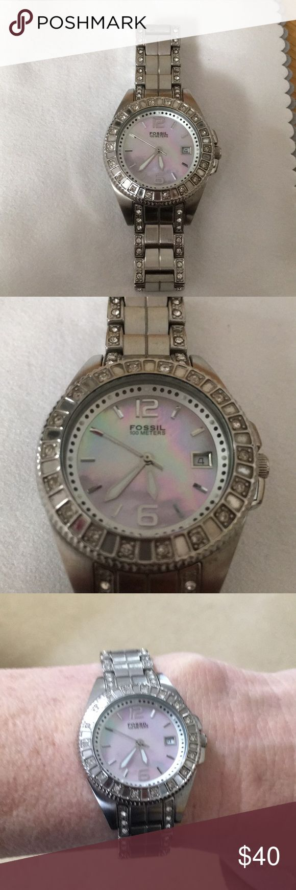 Fossil watch Stainless steel mother of pearl face needs battery Accessories Watches