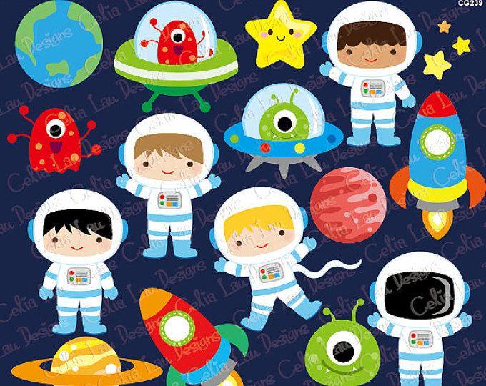 Espacio gráfico, muchacho astronautas, cohetes, Aliens, planetas, estrellas
