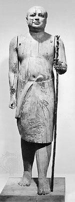 Shaykh al-Balad, wood statue from Ṣaqqārah in Memphis, Egypt, 5th dynasty (c. 2400 bce); in the Egyptian Museum, Cairo.