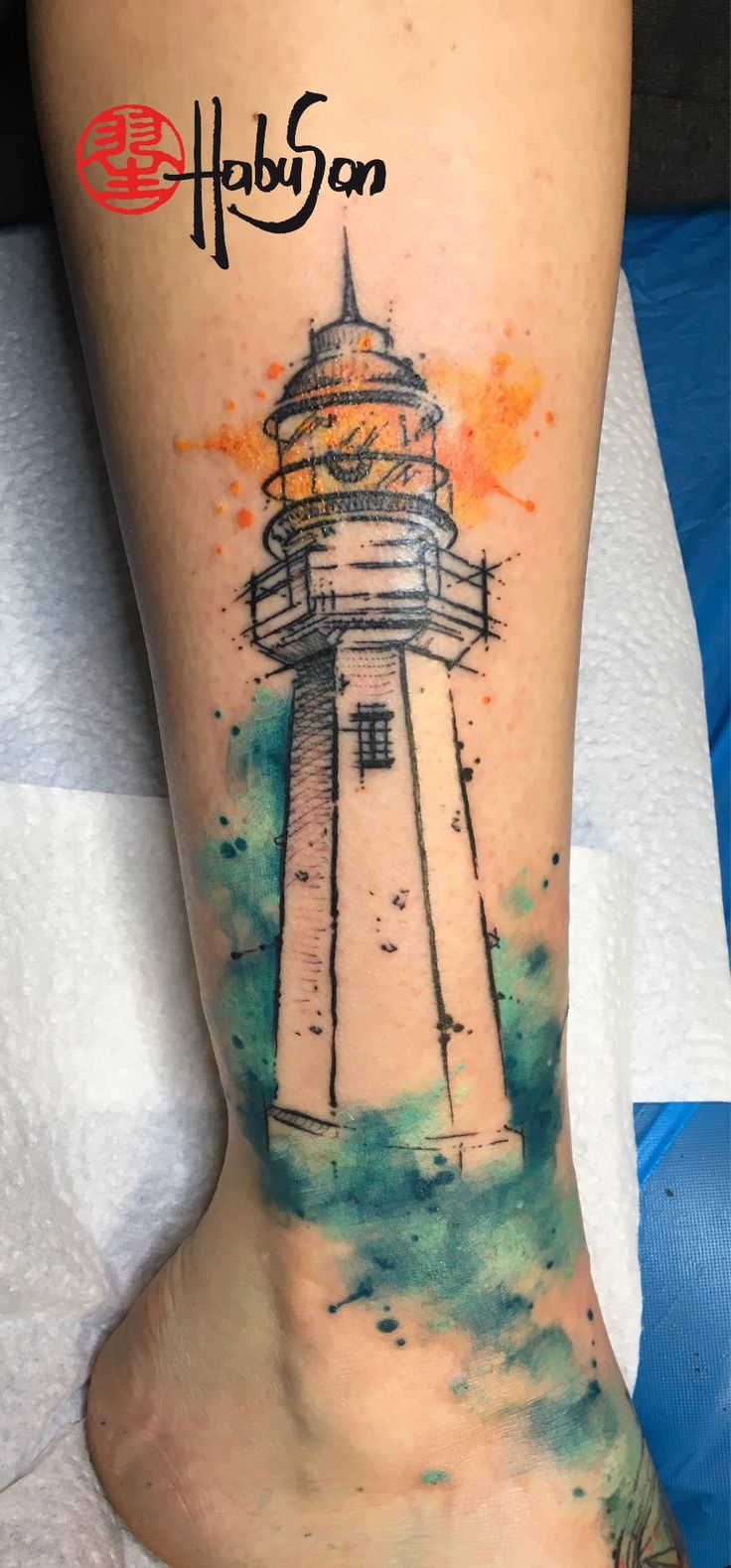 A lighthouse in sketchy optic with watercolor background! Thanks, Julia! #tattoo #habusan #Vienna #watercolourtattoo