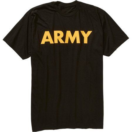 Men's Military Officially Licensed Army Workout Tee, Size: Small, Black