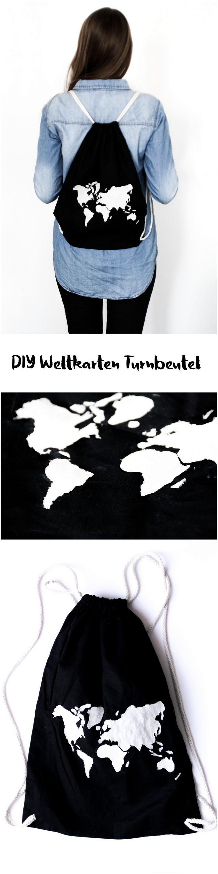 DIY Turnbeutel mit Weltkarte schwarz weiß Anleitung handmade fashion || gym bag with world map black and white || Mode