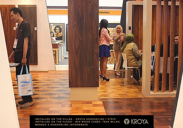 At 2015 DECORINTEX, KROYA Floors' clients experienced personal interactions with our own Exotic Indonesian engineered wood flooring and KROYA Floors' wood experts. KROYA Floors shared important moments with its client where new collections were showcased, such as : KROYA Sonokeling Astral, KROYA Mix Herringbones, the exotic mix wood cubes, and clients' favorite Merbau Interweave flooring. See photos for more. #lantaikayu #woodfloor #engineeredwoodflooring