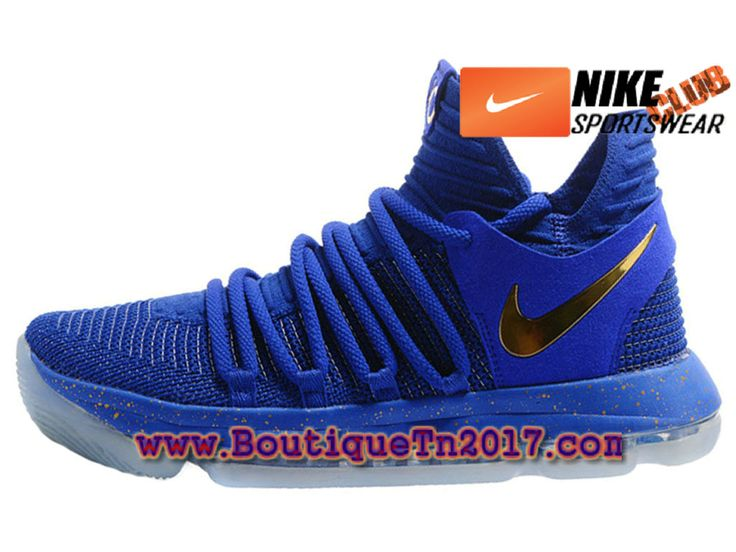 Nike Zoom KD 10 Chaussures Nike Basket Pas Cher Pour Homme Bleu Or