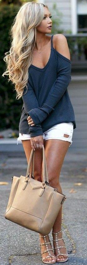 #summer #elegant #feminine | Navy Top   White Shorts