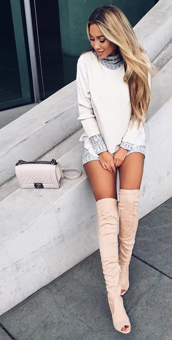 #fall #outfits ·  Short White Dress + Knee Length Boots