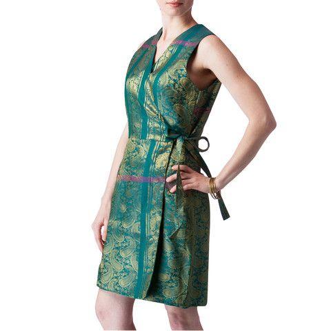Shubrah, Emerald Green Upcycled Sari Silk Wrap Bridesmaids Dress