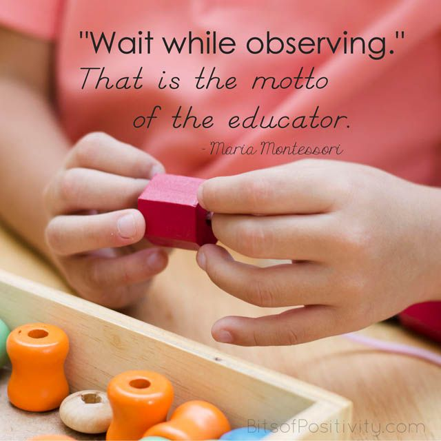 Blog post at Bits of Positivity : I've been in love with Montessori education for over 40 years now. Yet quotes by Dr. Maria Montessori never grow old. Whether you're a paren[..]