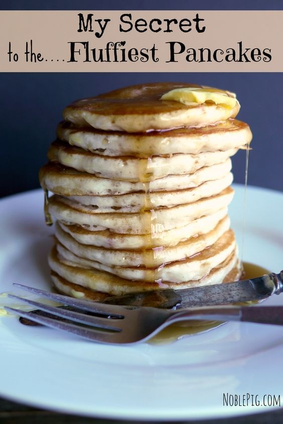My Secret to the Fluffiest Pancakes every time! Never disappoint at breakfast with a flat pancake again. The family will love these, from NoblePig.com.