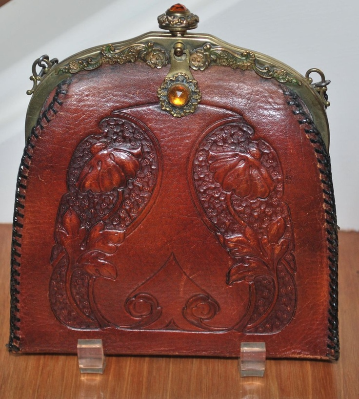 Jeweled Art Nouveau Hand Tooled Leather Purse Jemco Frame - Shop on Ruby Lane $135.00