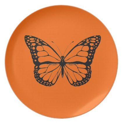 Vintage Butterfly on vibrant orange plate - classic gifts gift ideas diy custom unique