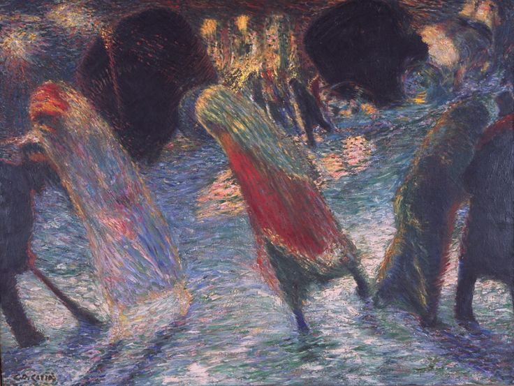 Carlo Carrà, Leaving the Theatre, 1910-1911